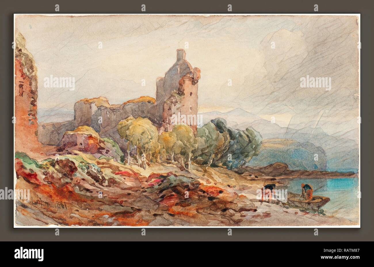 William Leighton Leitch (British, 1804 - 1883), A Ruined Castle on a Lake, 1881, watercolor over graphite on wove reimagined - Stock Image