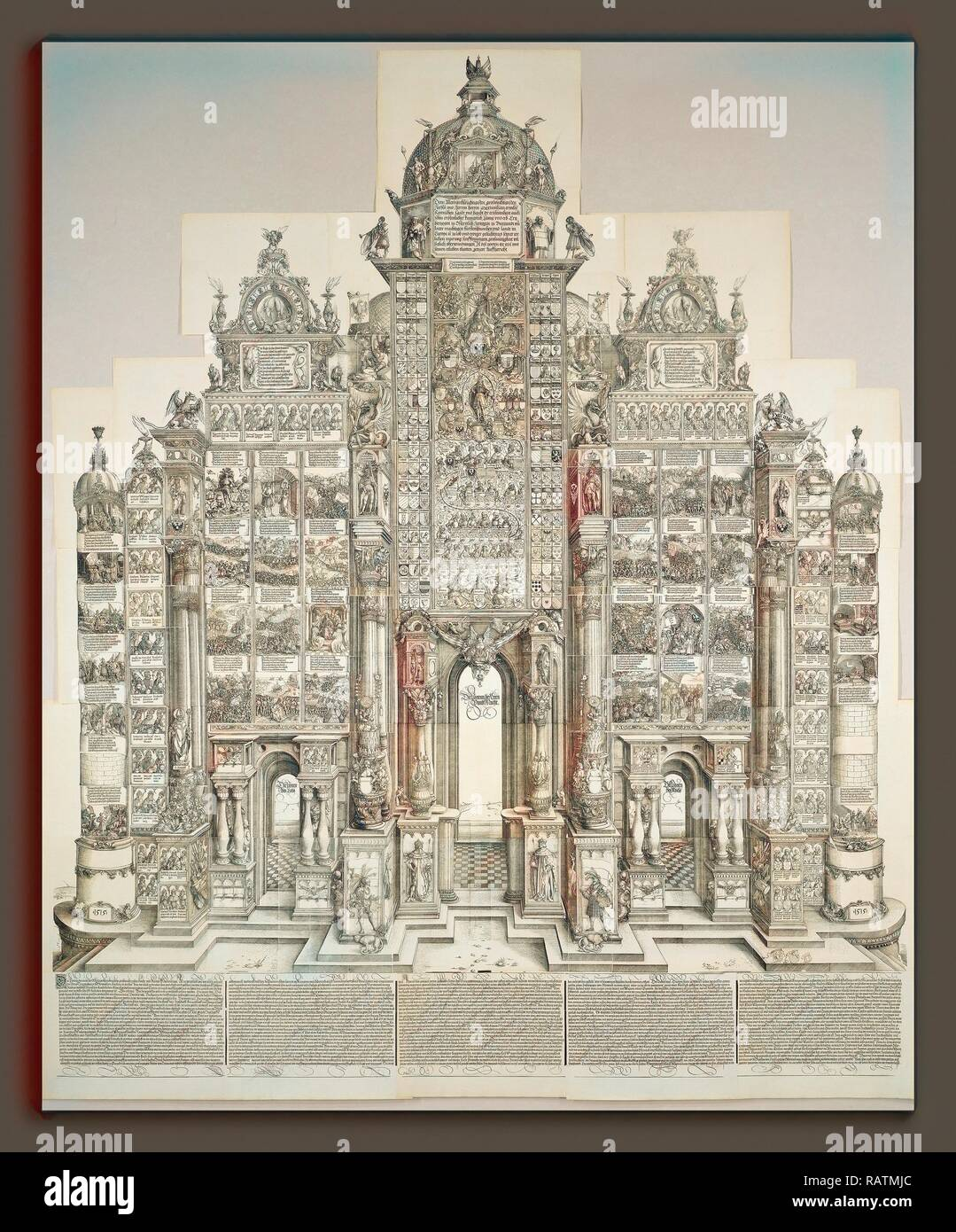 Albrecht Dürer, The Triumphal Arch of Maximilian, German, 1471 - 1528, 1515 (1799 edition), 42 woodcuts and 2 reimagined - Stock Image