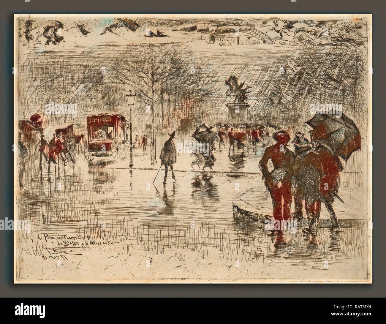 Félix-Hilaire Buhot, Le Retour des Artistes, French, 1847 - 1898, 1877, etching on laid paper. Reimagined - Stock Image