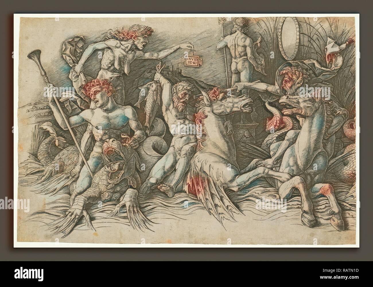 Andrea Mantegna (Italian, c. 1431 - 1506), Battle of the Sea Gods [left half], c. 1485-1488, engraving on laid paper reimagined - Stock Image
