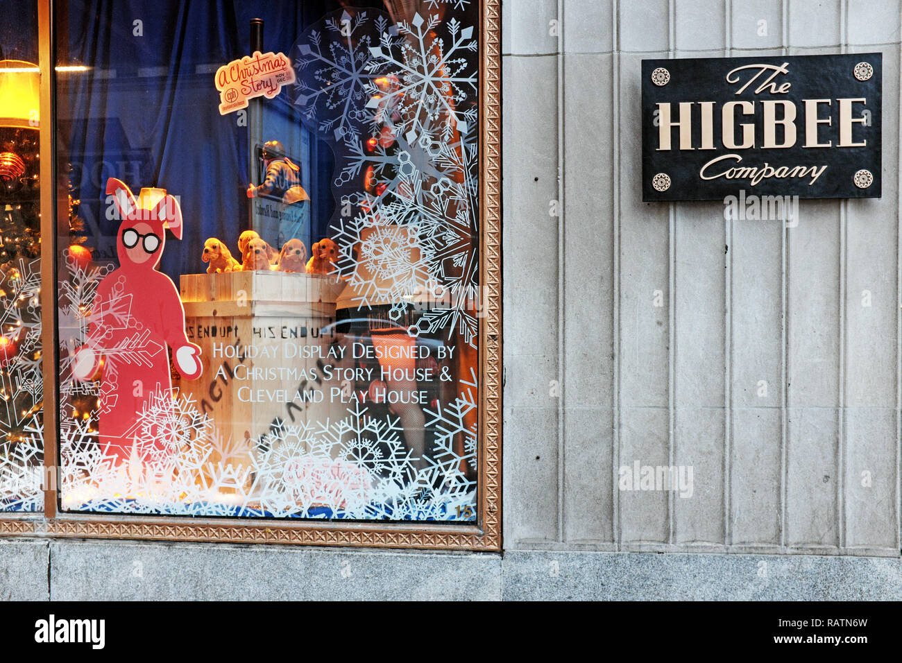 The Higbee Company building on Public Square in downtown Cleveland, Ohio, USA Christmas window display of 'A Christmas Story' movie. - Stock Image