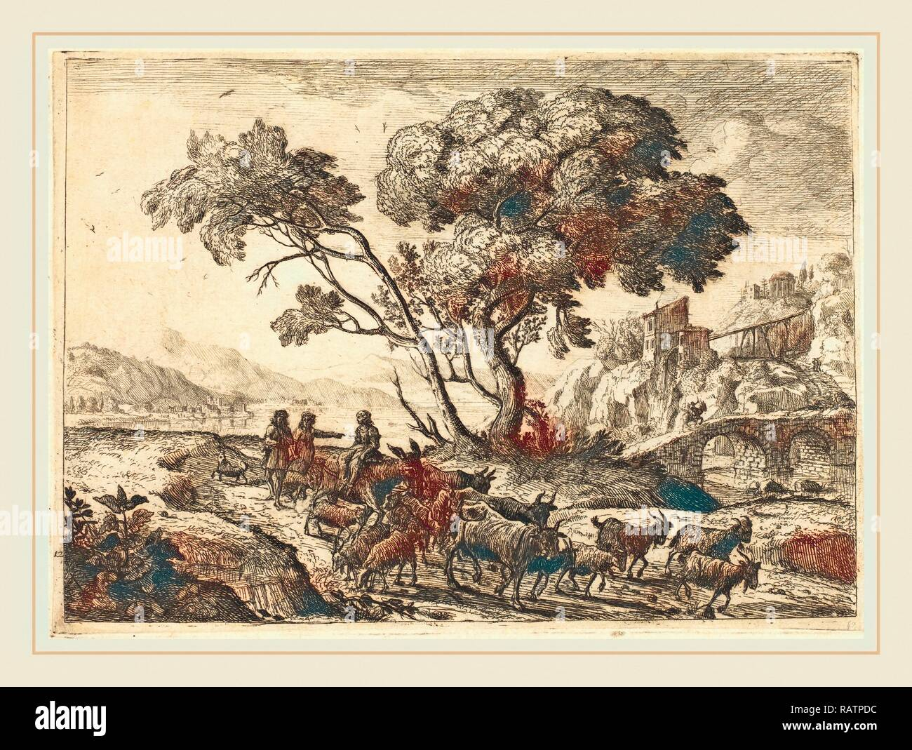 Claude Lorrain, French (1604-1605-1682), Departure for the Fields, 1638-1641, etching in black on laid paper reimagined - Stock Image