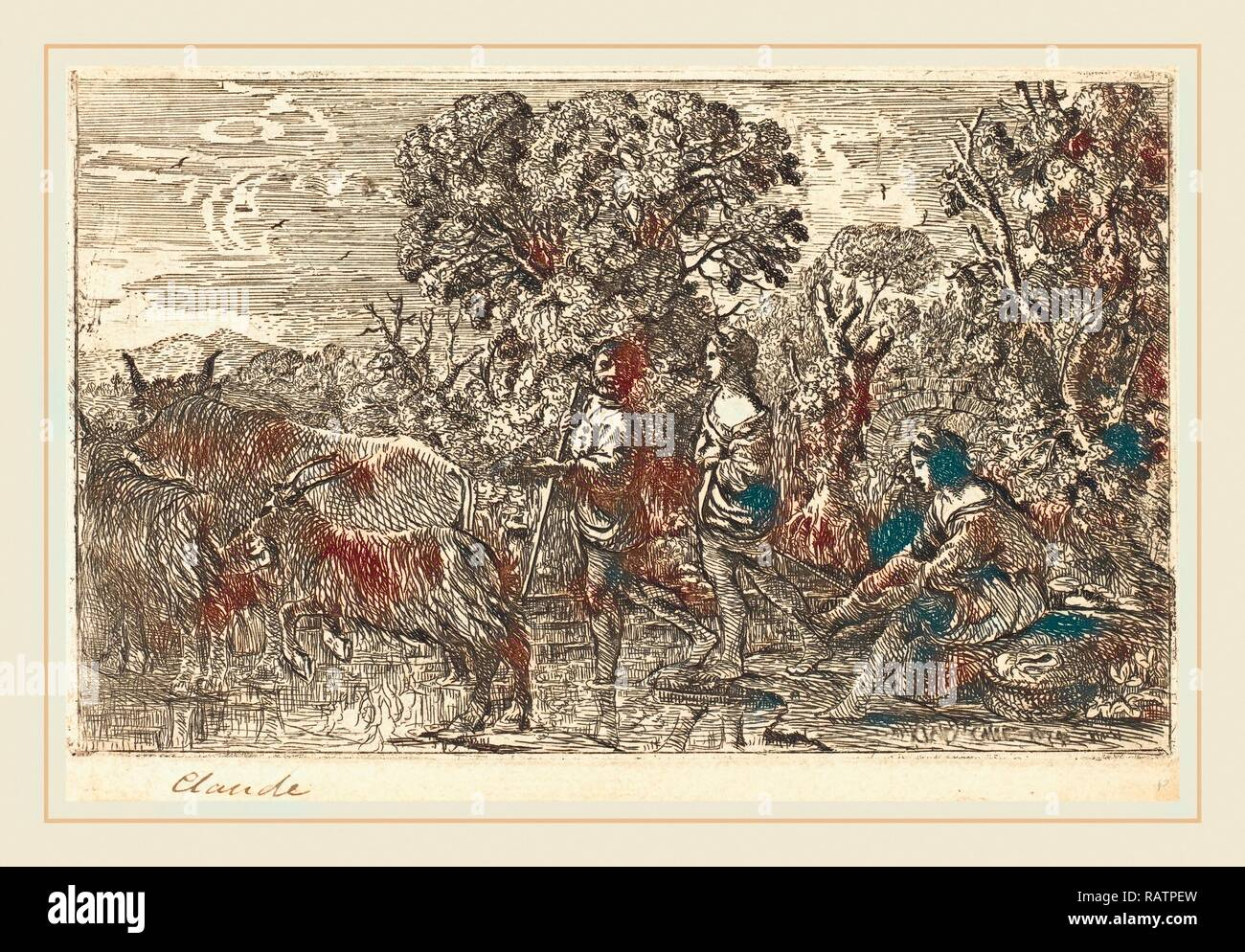 Claude Lorrain, French (1604-1605-1682), The Ford (Le passage du gué), 1634, etching. Reimagined by Gibon. Classic reimagined - Stock Image