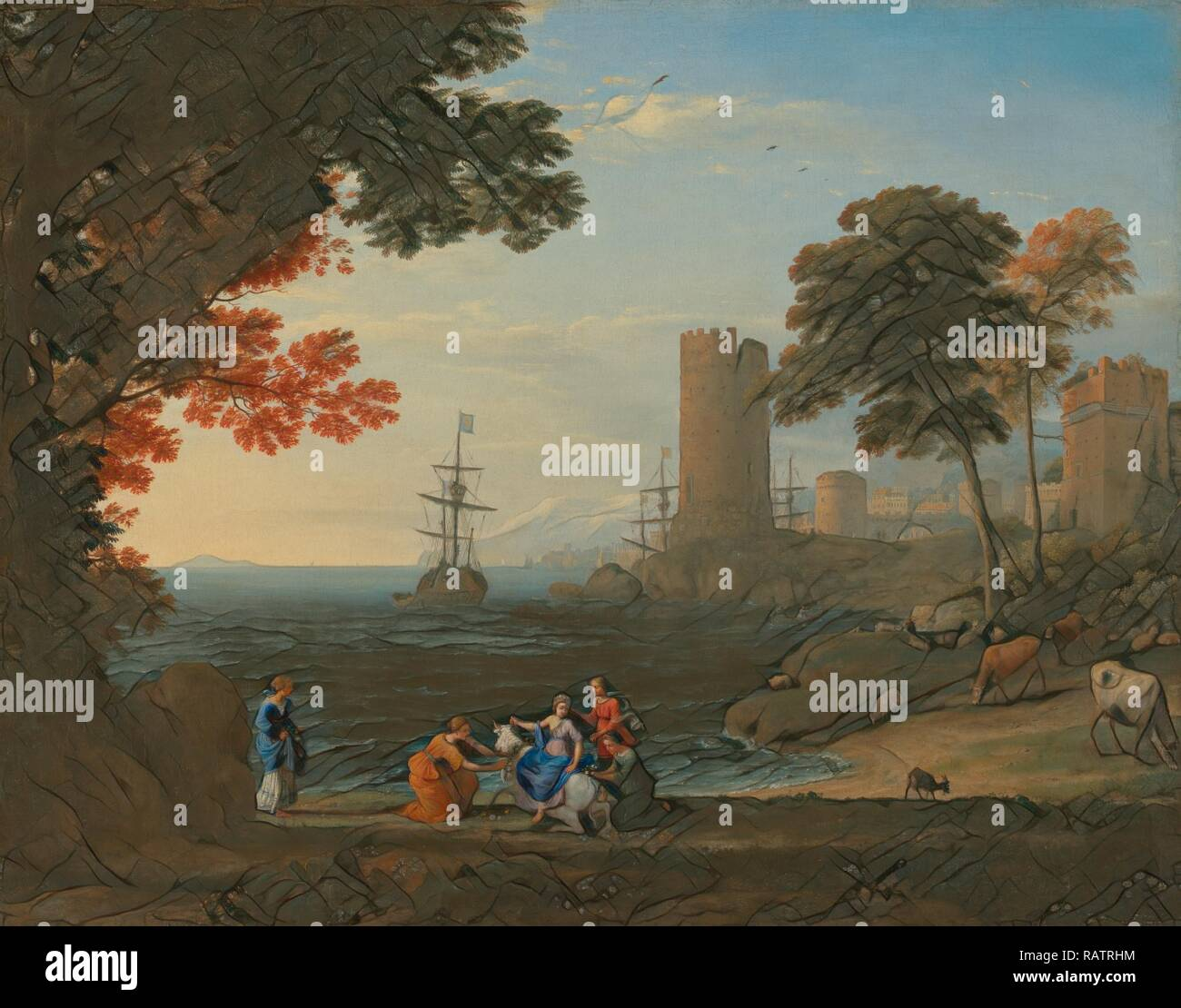 Coast View with the Abduction of Europa, Claude Lorrain (Claude Gellée), French, 1604 or 1605 ? - 1682, Rome, Italy reimagined - Stock Image
