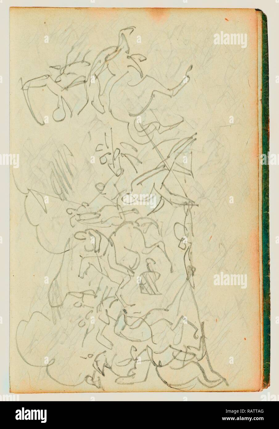 Cavalry battle, Théodore Géricault, French, 1791 - 1824, 1812 - 1814, Graphite, 15.2 x 10.6 cm (6 x 4 3/16 in reimagined - Stock Image