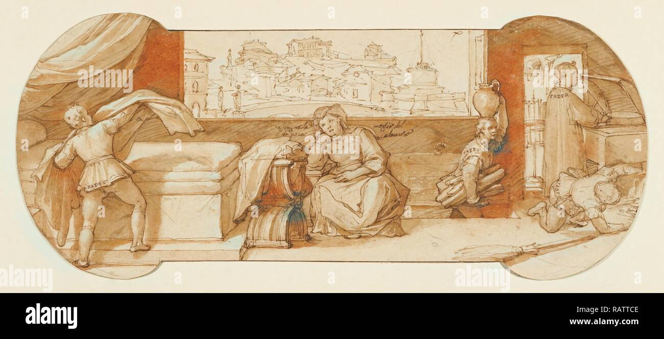 Taddeo Employed on Menial Tasks at Calabrese's House, Federico Zuccaro, Italian, about 1541 - 1609, about 1595, Pen reimagined - Stock Image