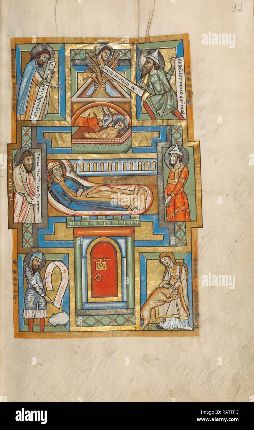 The Nativity, Unknown, Hildesheim, Germany, Europe, probably 1170s, Tempera colors, gold leaf, silver leaf, and ink reimagined - Stock Image