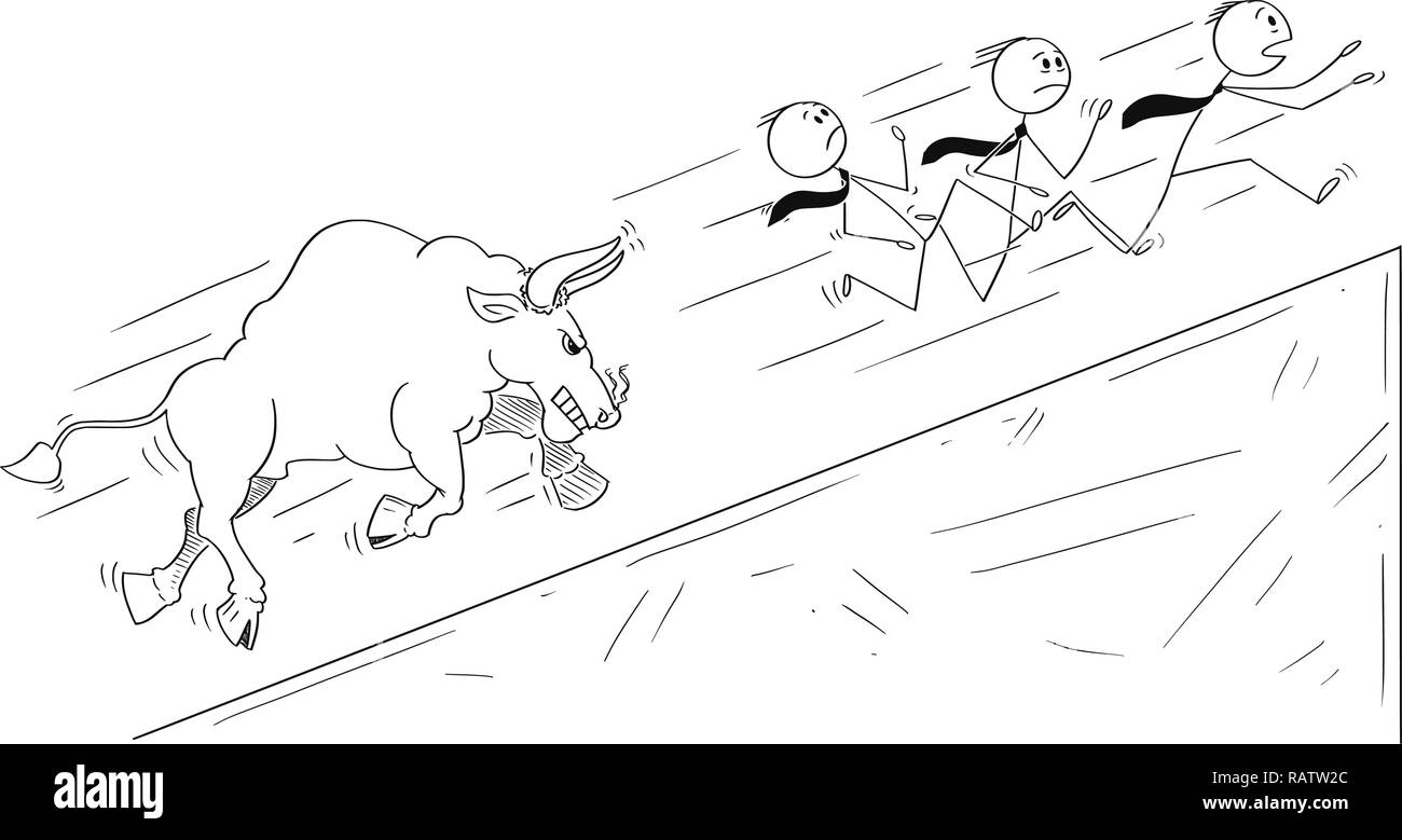 Cartoon of Group of Businessmen Running Uphill Away From Angry Bull as Rising Market Prices Symbol Stock Vector