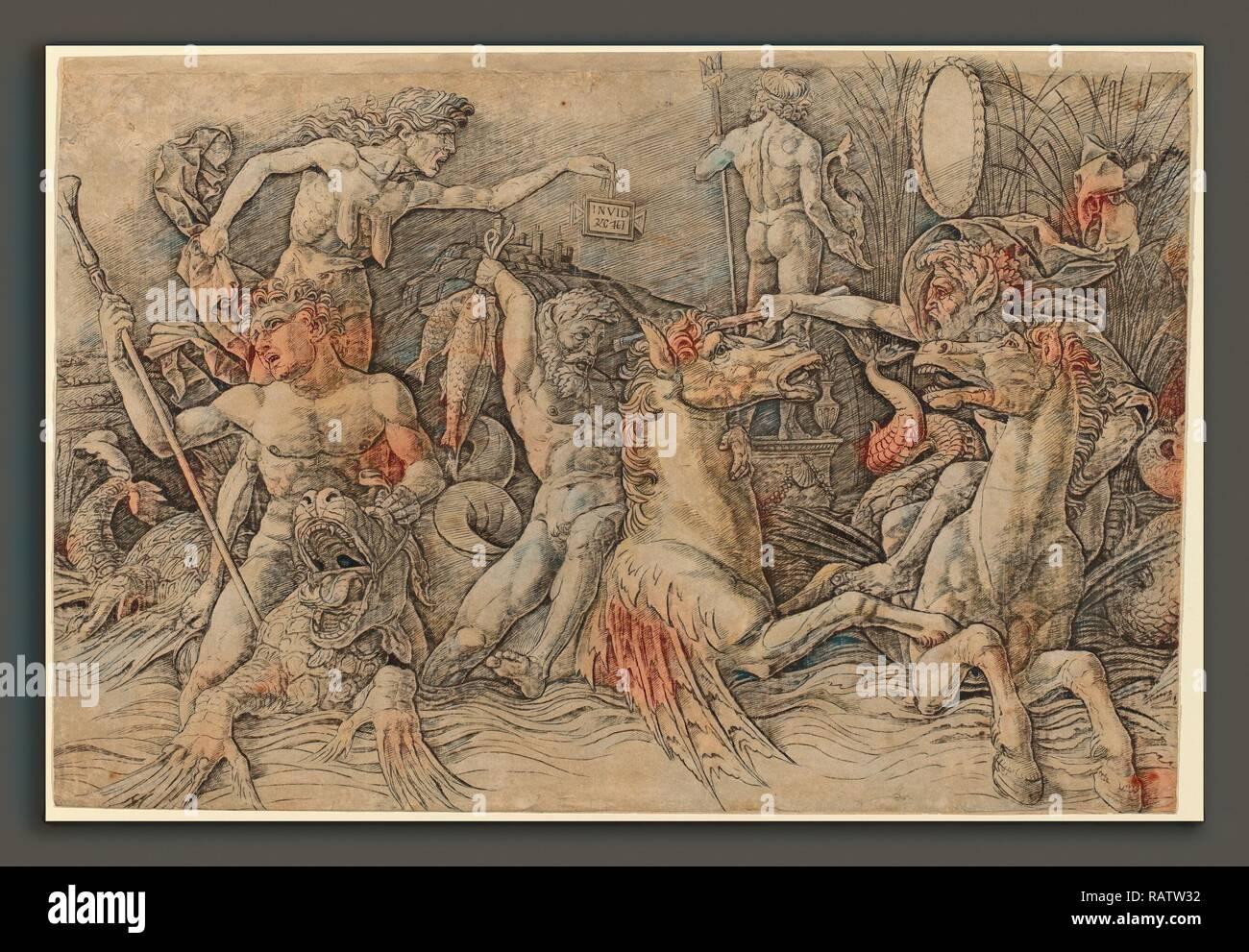 Andrea Mantegna (Italian, c. 1431 - 1506), Battle of the Sea Gods [left half], c. 1485-1488, engraving. Reimagined - Stock Image