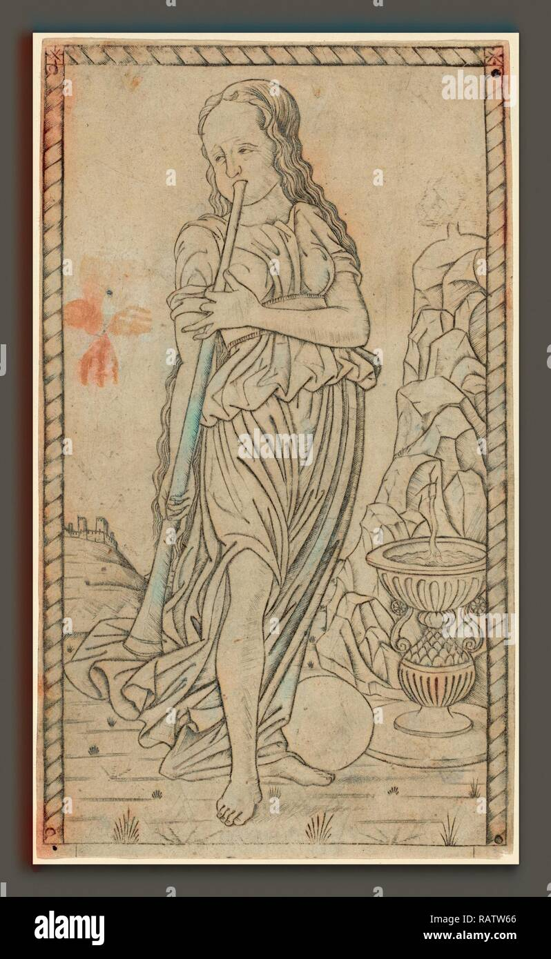 Master of the E-Series Tarocchi (Italian, active c. 1465), Caliope (Calliope), c. 1465, engraving. Reimagined - Stock Image