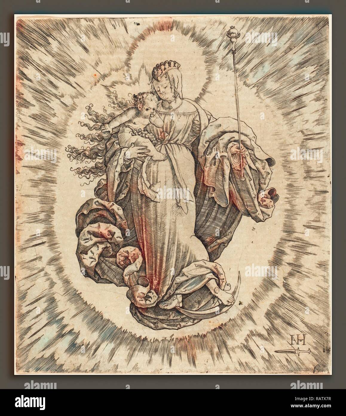 Master N.H. with the Dagger (German, active first half 16th century), Madonna on a Crescent, engraving. Reimagined - Stock Image