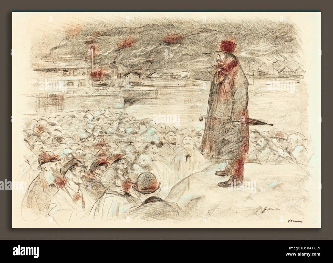Jean-Louis Forain (French, 1852 - 1931), Scene of a Strike (third plate), c. 1897, lithograph. Reimagined - Stock Image