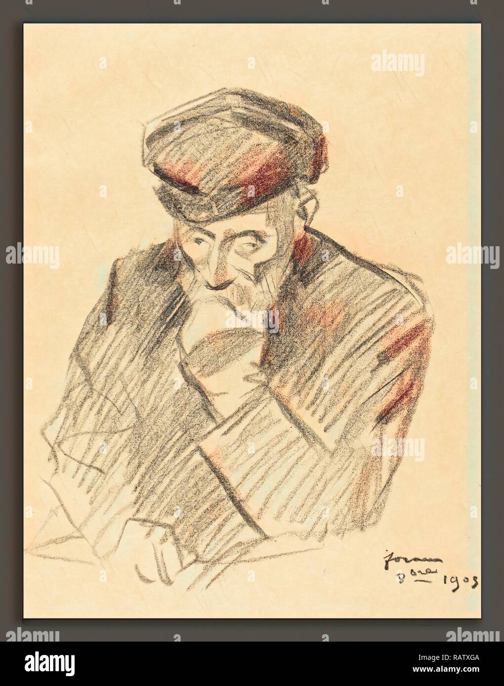 Jean-Louis Forain, Renoir (fourth plate), French, 1852 - 1931, 1905, transfer lithograph. Reimagined - Stock Image