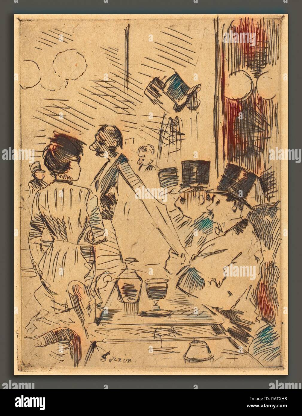 Jean-Louis Forain (French, 1852 - 1931), The Cafe of the New Athens, c. 1876, etching. Reimagined by Gibon. Classic reimagined - Stock Image