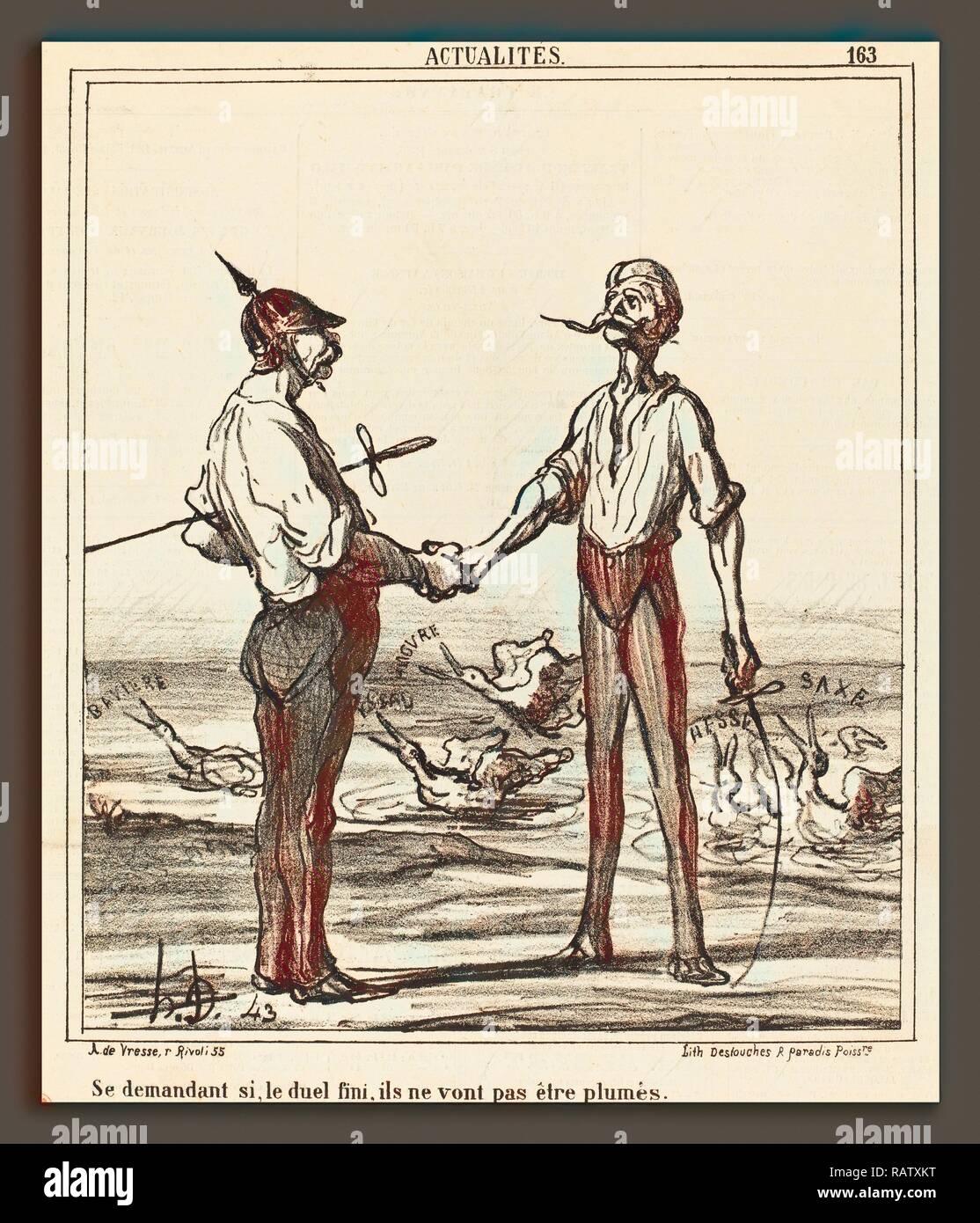 Honoré Daumier (French, 1808 - 1879), Se demandant si, le duel fini, ils ne vont pas etre plumes, 1866, lithograph on reimagined - Stock Image