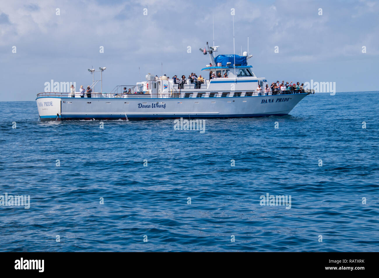 Dana Point, California - October 10, 2018: This whale watching boat was seen of of the coast of California. Tourists are seen at it's bow taking pictu - Stock Image