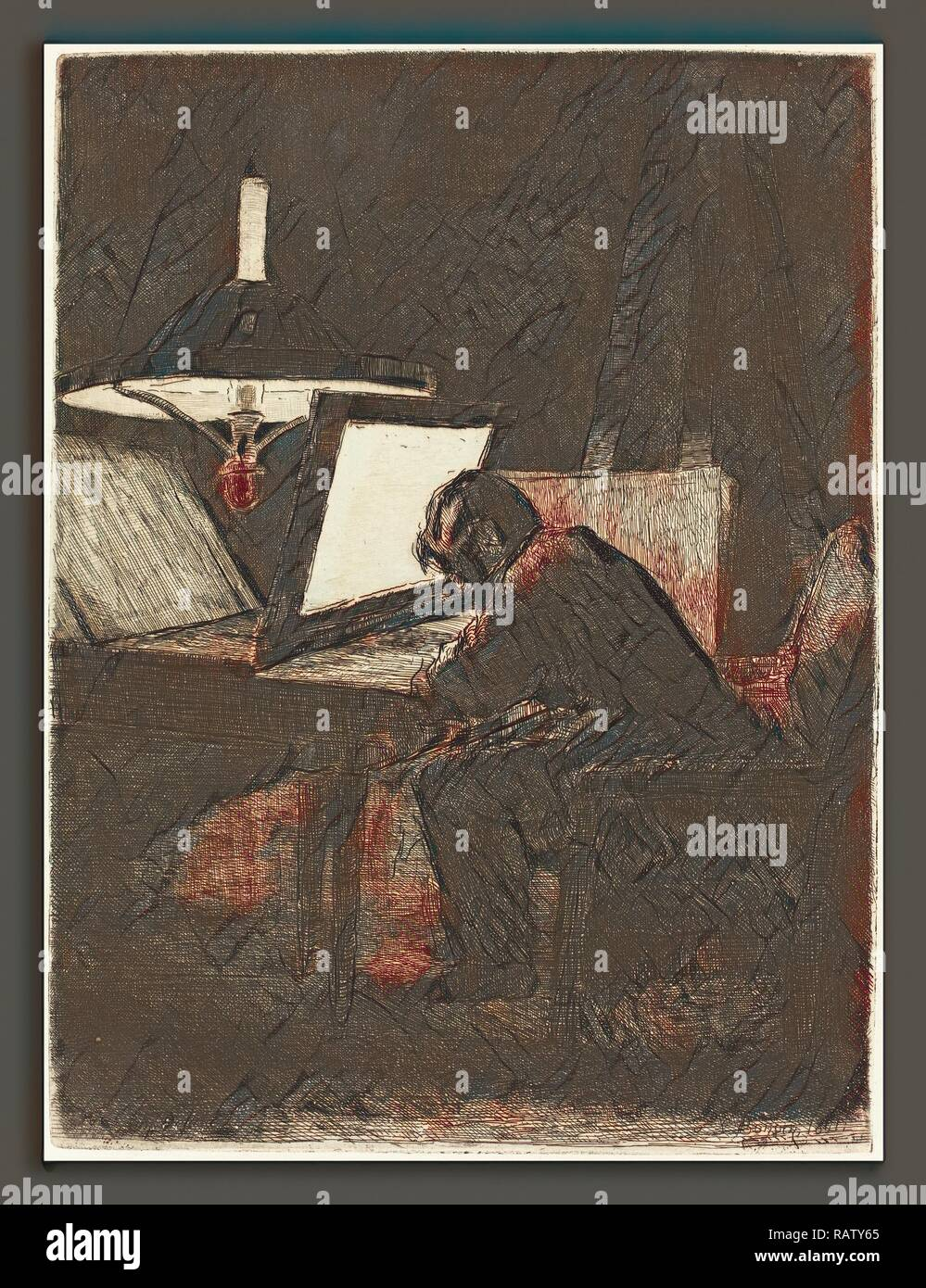 François Bonvin (French, 1817 - 1887), The Printmaker (Le Graveur), 1861, etching on laid paper. Reimagined - Stock Image