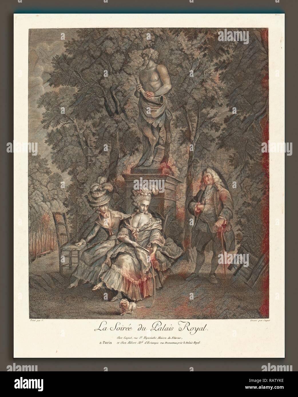 Jean Gabriel Caquet after François-André Vincent (French, 1749 - 1802), La soiree du Palais Royal, etching and reimagined - Stock Image