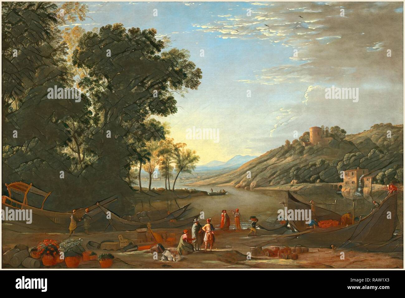 Claude Lorrain, French (1604-1605-1682), Landscape with Merchants, c. 1629, oil on canvas. Reimagined - Stock Image