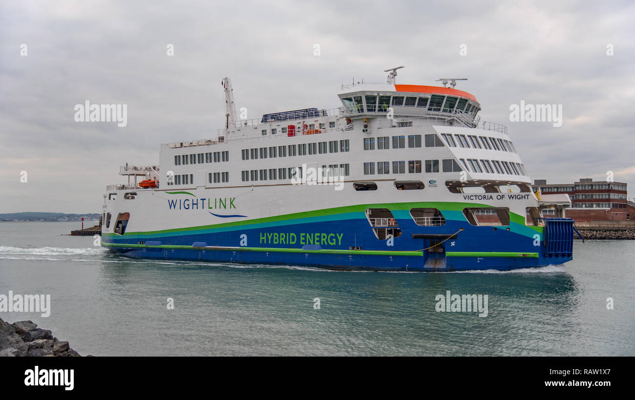 Wightlink car ferry MV Victoria of Wight in Portsmouth Harbour, UK on 3/1/19 preparing to disembark vehicles and passengers at the terminal. - Stock Image