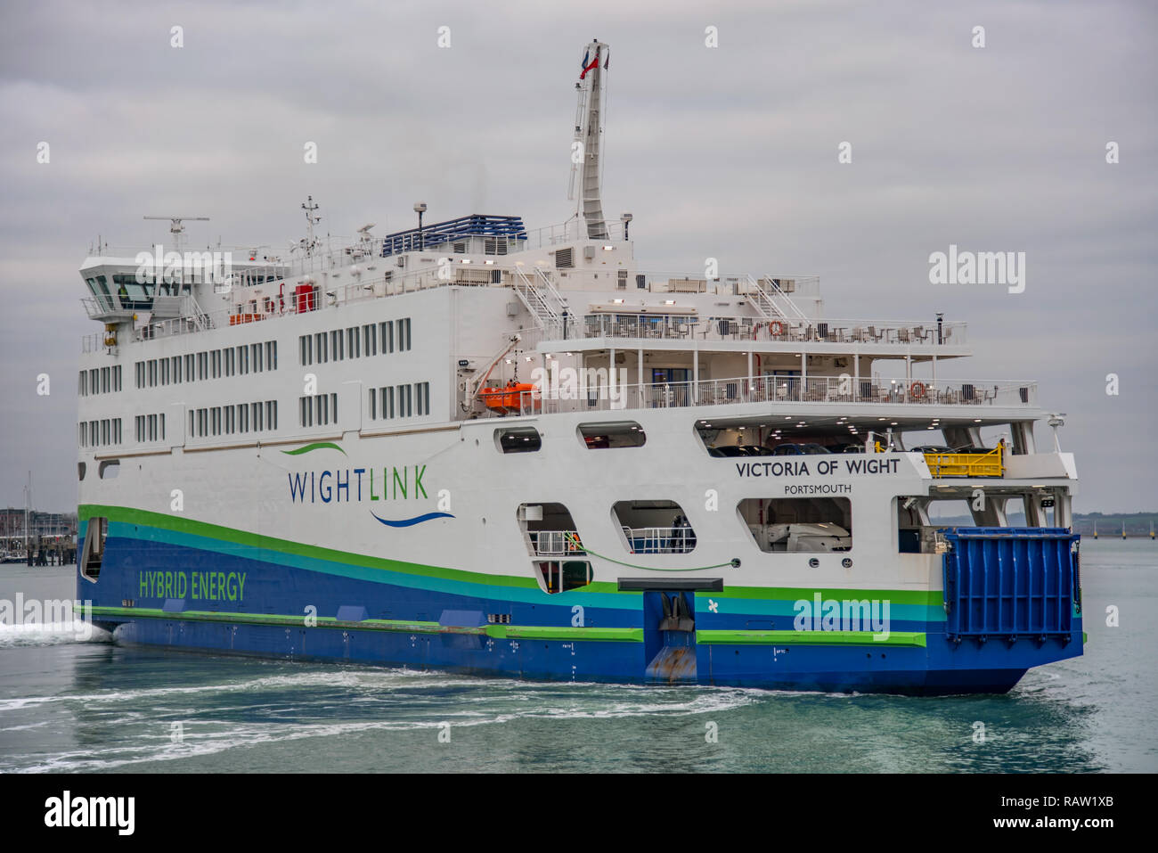 Wightlink car ferry MV Victoria of Wight in Portsmouth Harbour, UK on 3/1/19 preparing to disembark vehicles and passengers at the terminal. Stock Photo