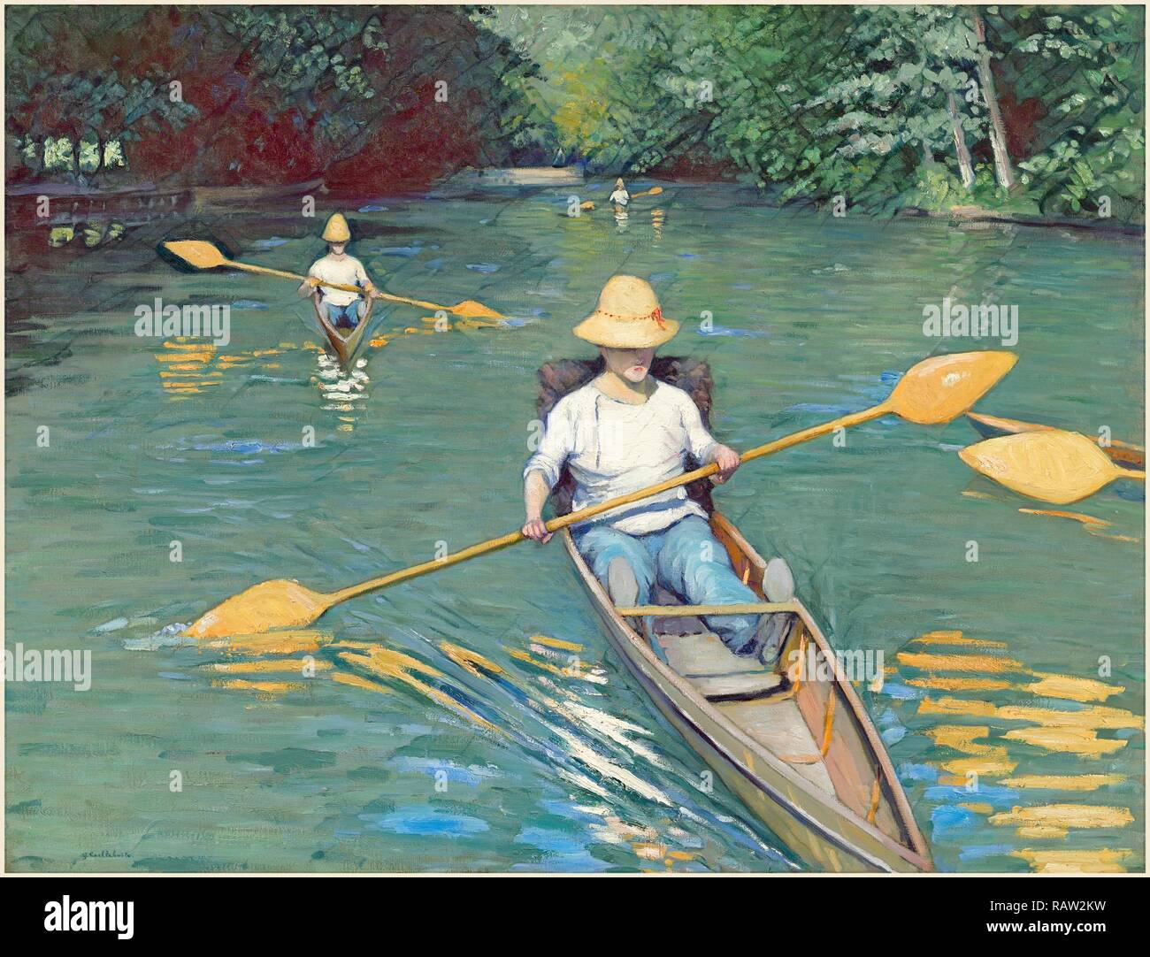 Gustave Caillebotte, French (1848-1894), Skiffs, 1877, oil on canvas. Reimagined by Gibon. Classic art with a modern reimagined - Stock Image