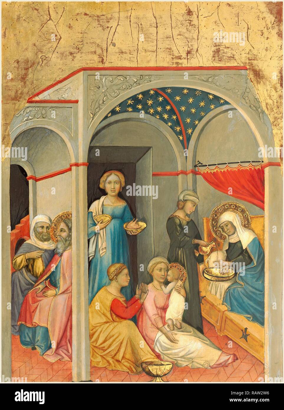 Andrea di Bartolo, Italian (documented from 1389-died 1428), The Nativity of the Virgin, c. 1400, tempera on panel reimagined - Stock Image