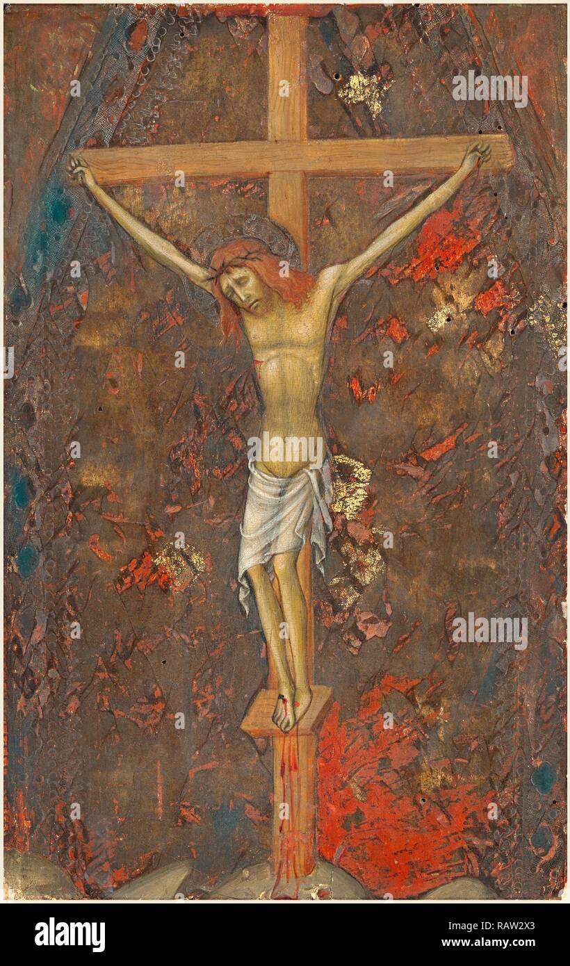 Andrea di Bartolo, Italian (documented from 1389-died 1428), The Crucifixion, c. 1415, tempera on panel. Reimagined - Stock Image