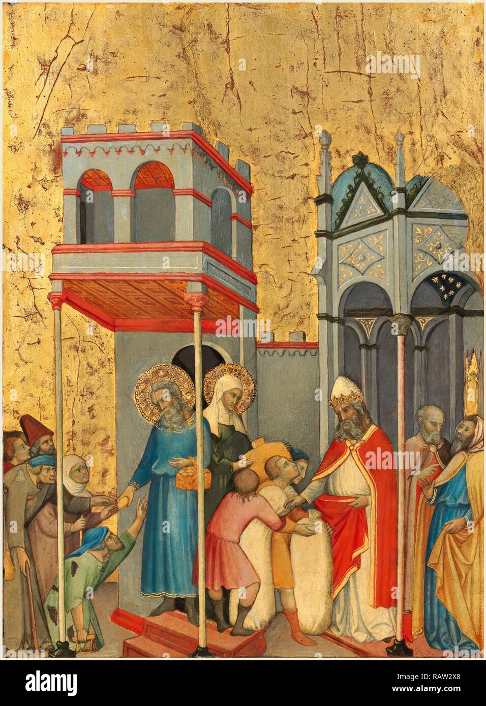 Andrea di Bartolo, Italian (documented from 1389-died 1428), Joachim and the Beggars, c. 1400, tempera on panel reimagined - Stock Image