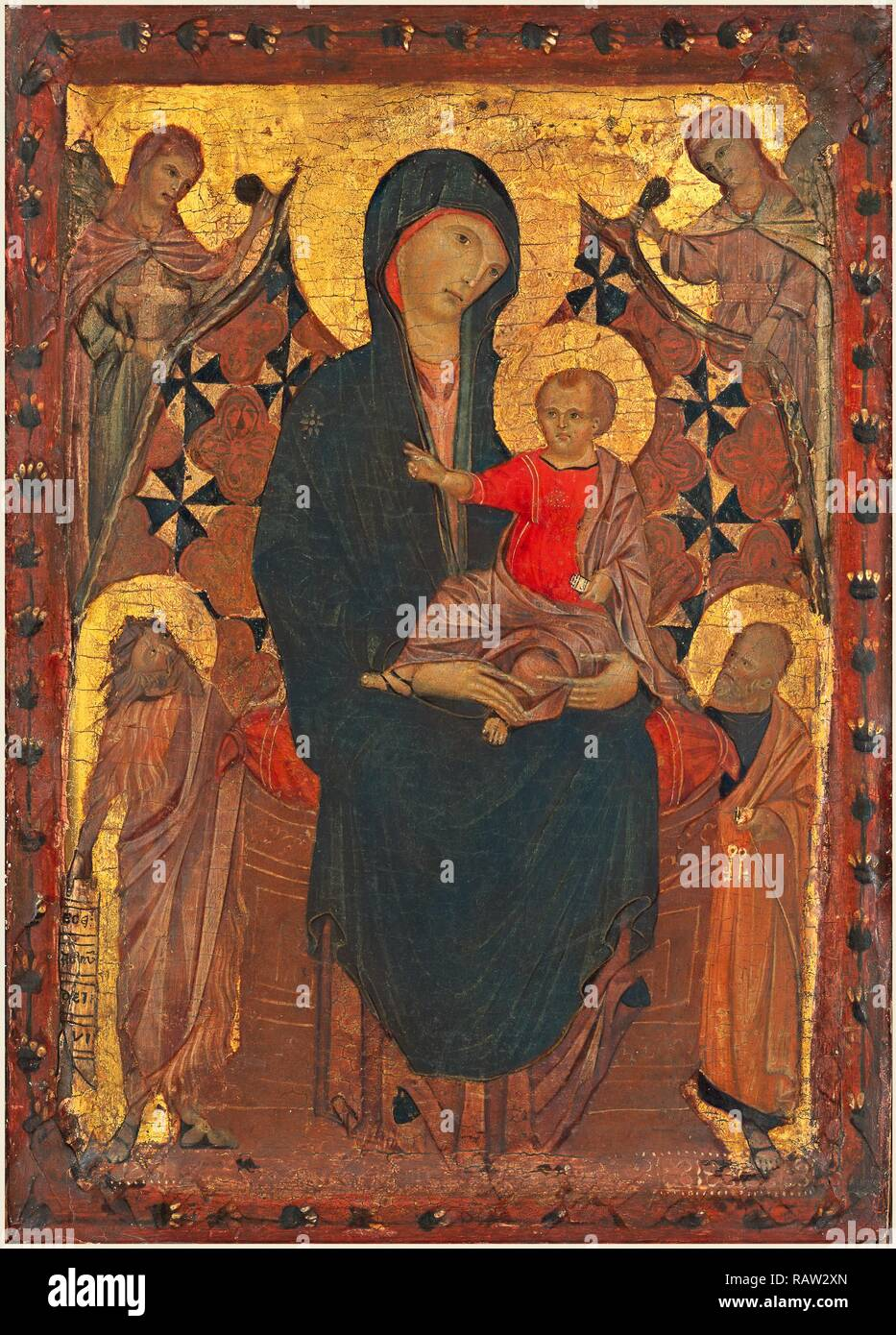 Attributed to Cimabue, Italian (mentioned 1272-active 1302), Madonna and Child with Saint John the Baptist and Saint reimagined - Stock Image
