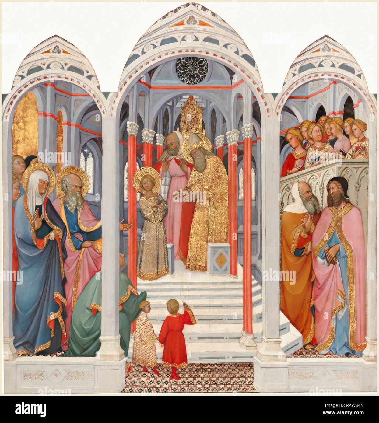 Paolo di Giovanni Fei, Italian (mentioned 1369-1411), The Presentation of the Virgin, c. 1400, tempera on wood reimagined - Stock Image