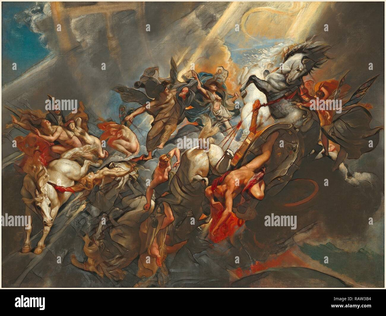 Sir Peter Paul Rubens, Flemish (1577-1640), The Fall of Phaeton, c. 1604-1605, probably reworked c. 1606-1608, oil on reimagined - Stock Image