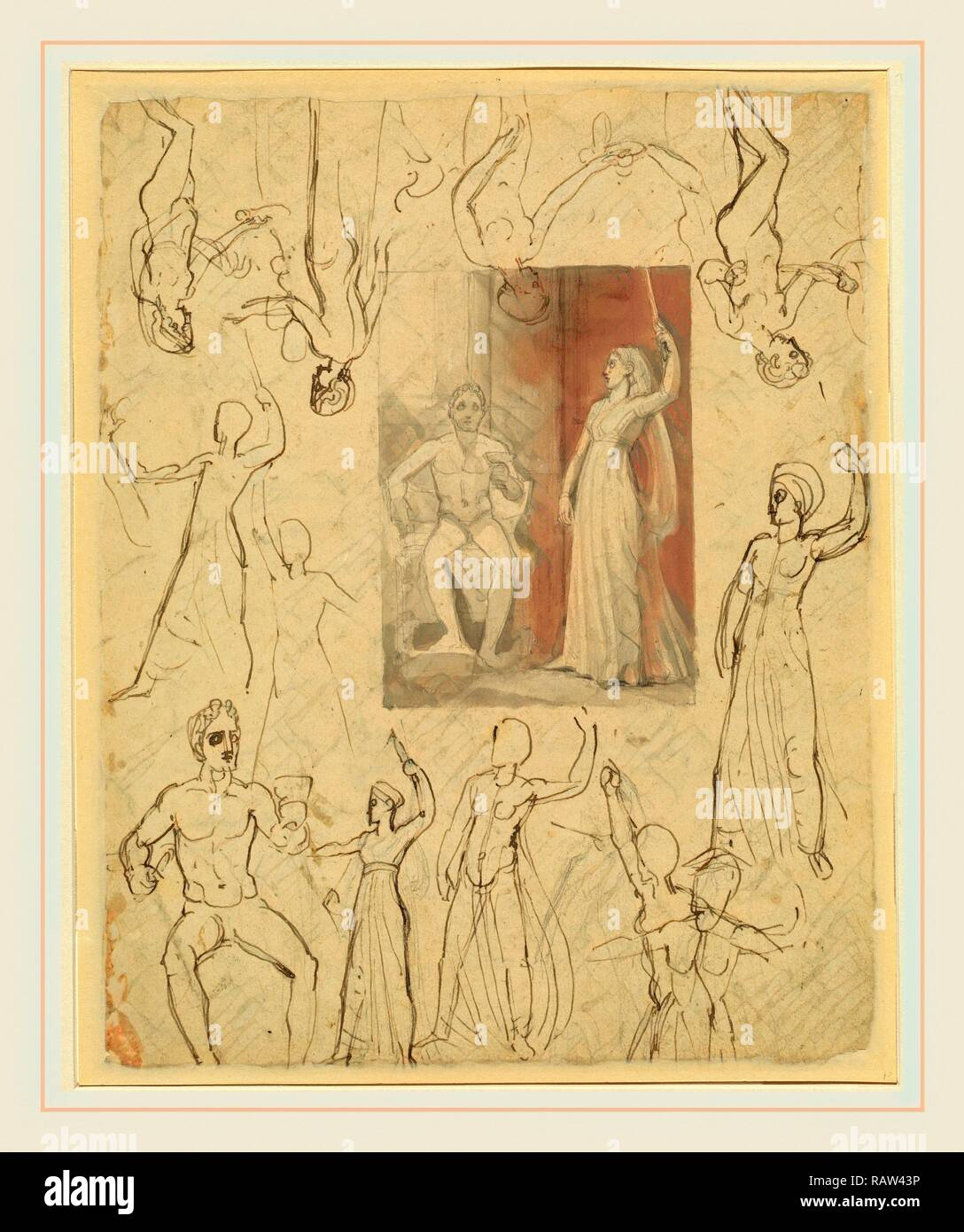 Thomas Stothard, Design for a Book Illustration and Related Studies [recto], British, 1755-1834, pen and gray and reimagined - Stock Image