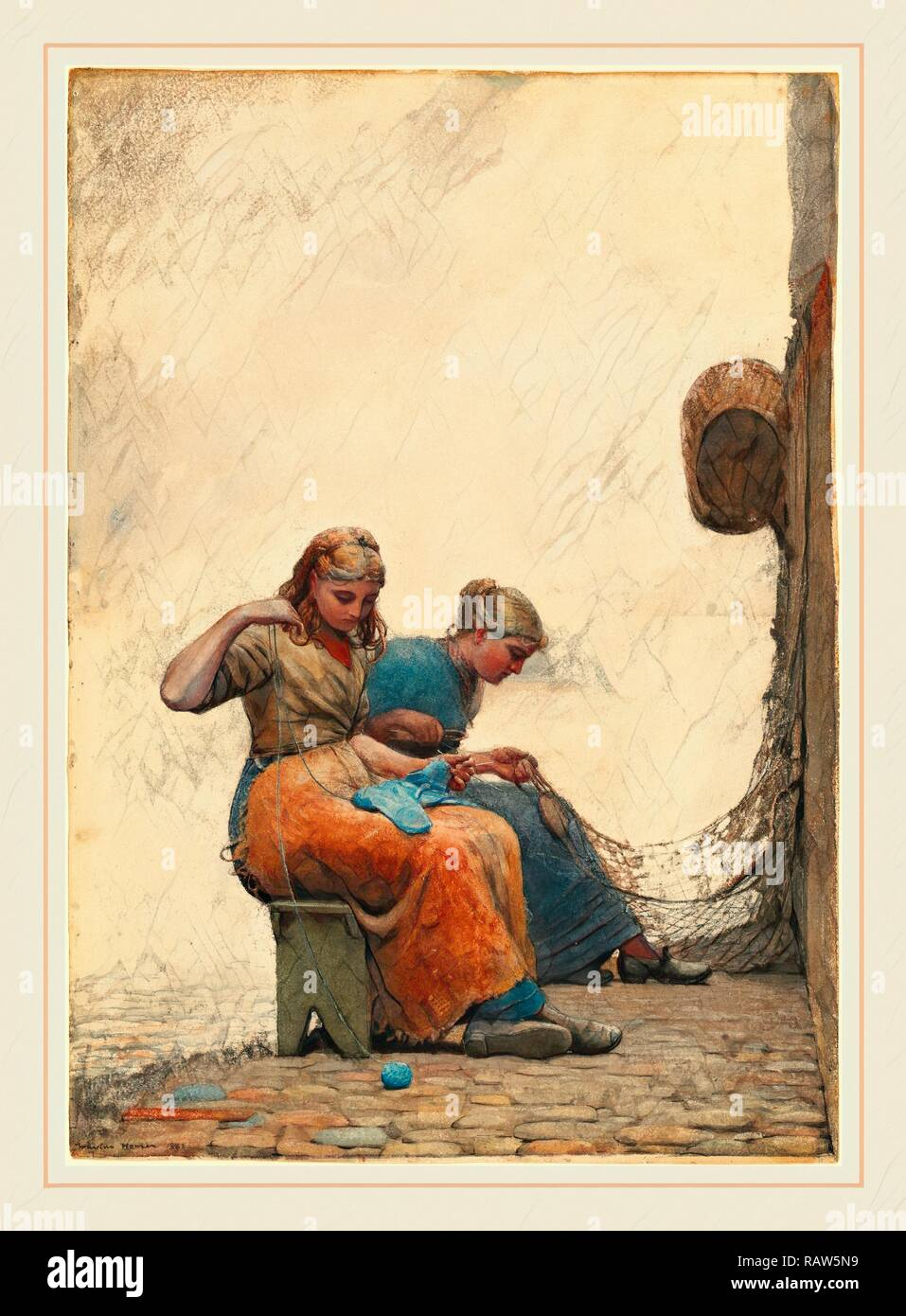 Winslow Homer, American (1836-1910), Mending the Nets, 1882, watercolor and gouache over graphite. Reimagined - Stock Image