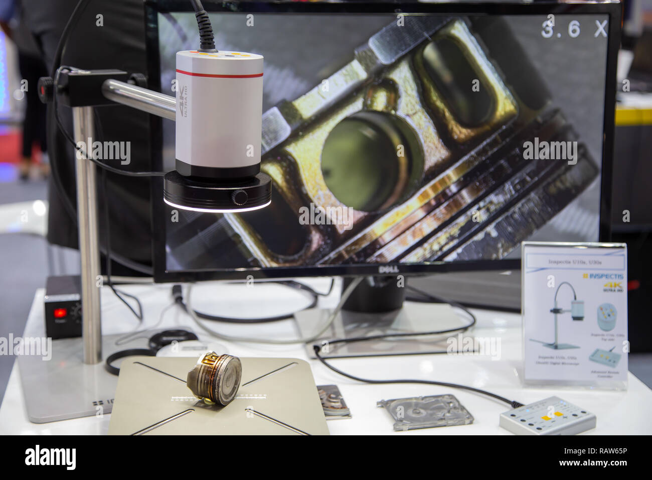Bangkok, Thailand - November 23, 2018: Surface roughness evaluation of engine cylinder by optical microscope display in Metalex 2018 - Stock Image