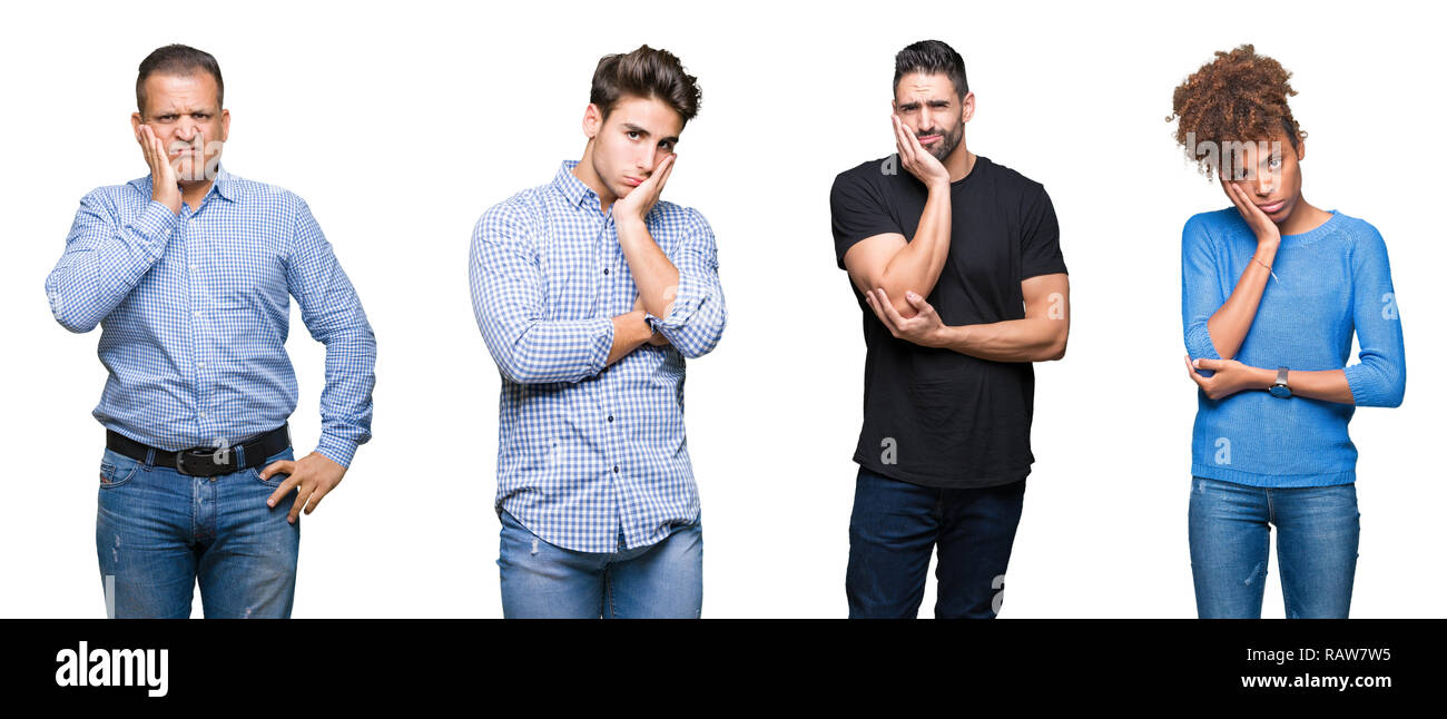 Collage of group of young and middle age people thinking looking tired and bored with depression problems with crossed arms. Stock Photo