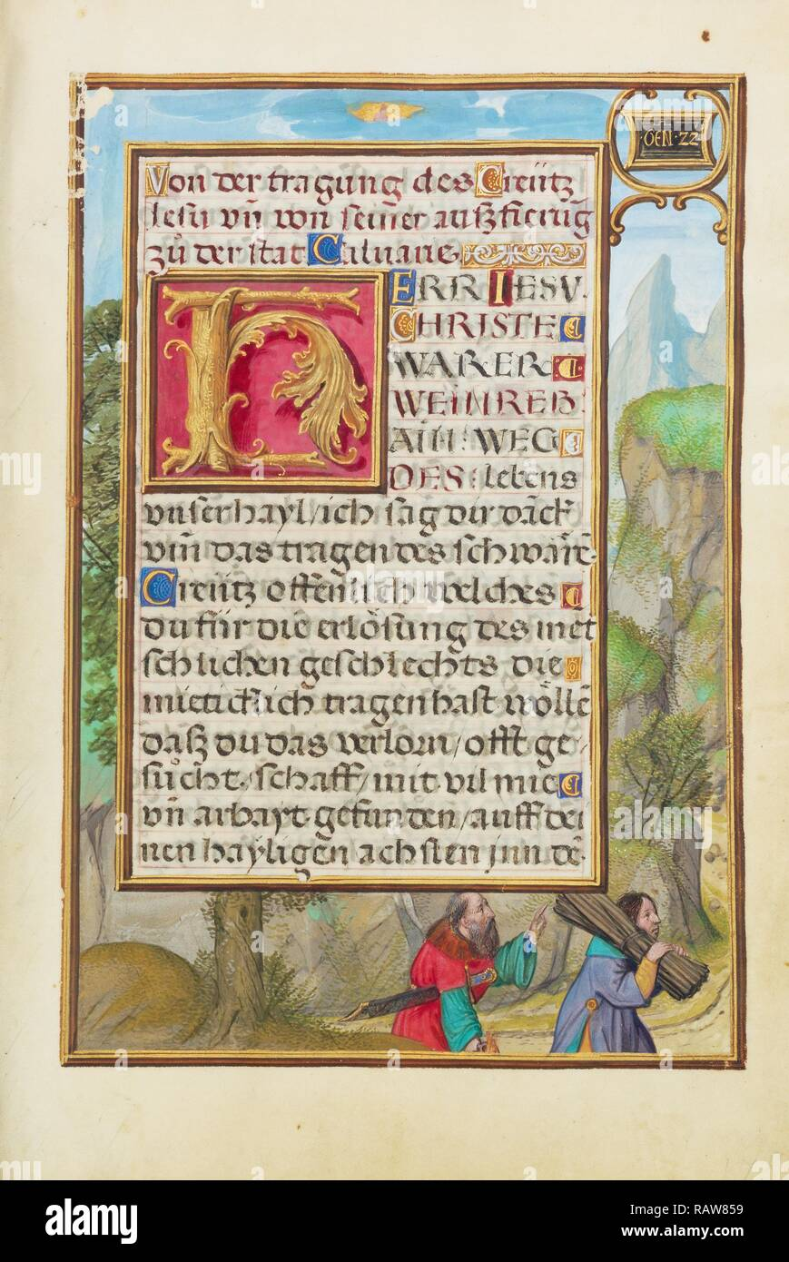 Border with Abraham and Isaac, Simon Bening, Flemish, about 1483 - 1561, Bruges, Belgium, Europe, about 1525 - 1530 reimagined - Stock Image