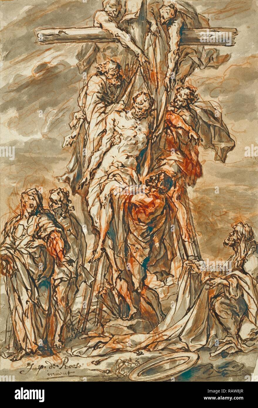Descent from the Cross, Phillip Roos, German, 1655/1657 - 1706, about 1696, Pen and brown ink with gray wash over red reimagined Stock Photo