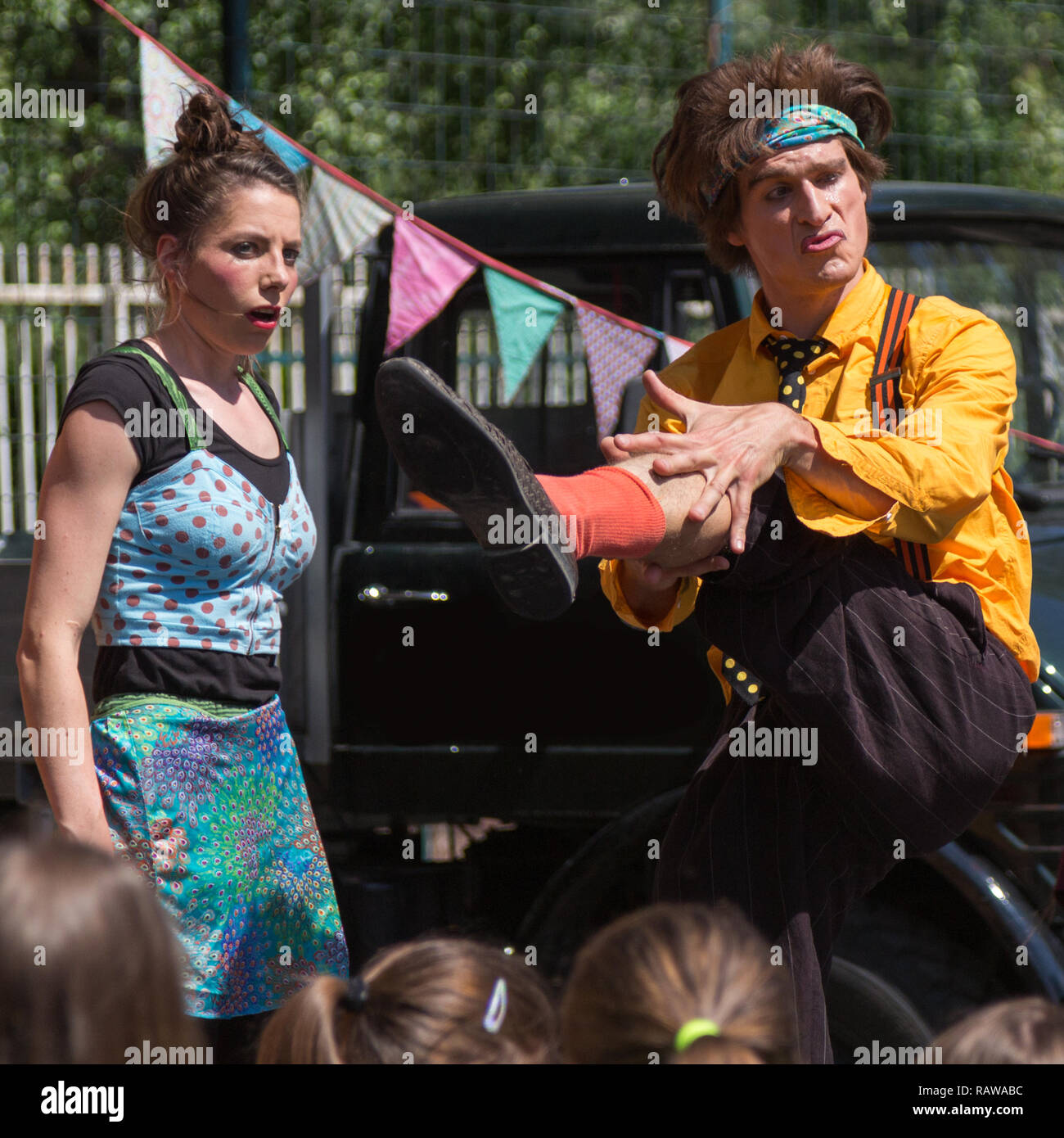 Traveling pantomime company called `Tarkabarka` show at a school in Sopron, Hungary on May 27th 2017. Expression: foppish and wide-eyed - Stock Image