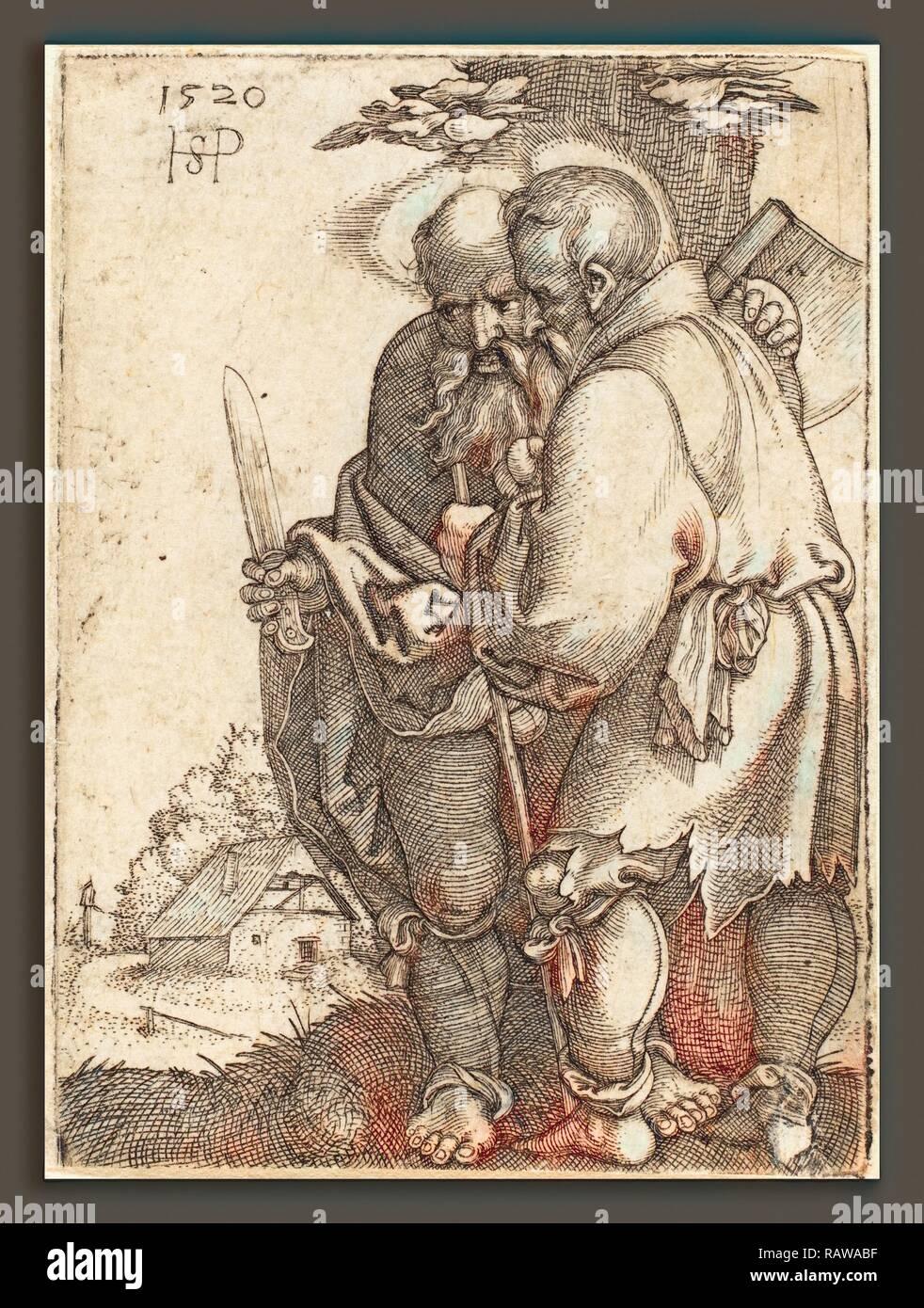 Sebald Beham (German, 1500 - 1550), Bartholomew and Matthias, 1520, engraving. Reimagined by Gibon. Classic art with reimagined - Stock Image