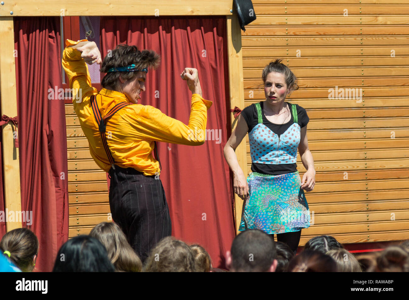 Traveling pantomime company called `Tarkabarka` show at a school in Sopron, Hungary on May 27th 2017. Expressions: exhibitionist and wide-eyed - Stock Image