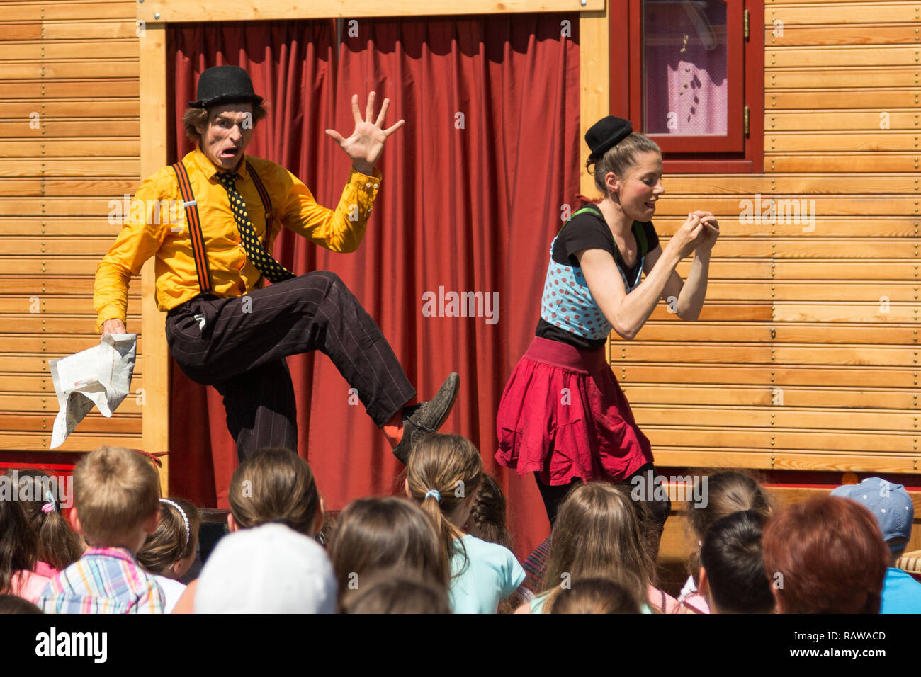Traveling pantomime company called `Tarkabarka` show at a school in Sopron, Hungary on May 27th 2017. Expressions: tricky and rejective - Stock Image