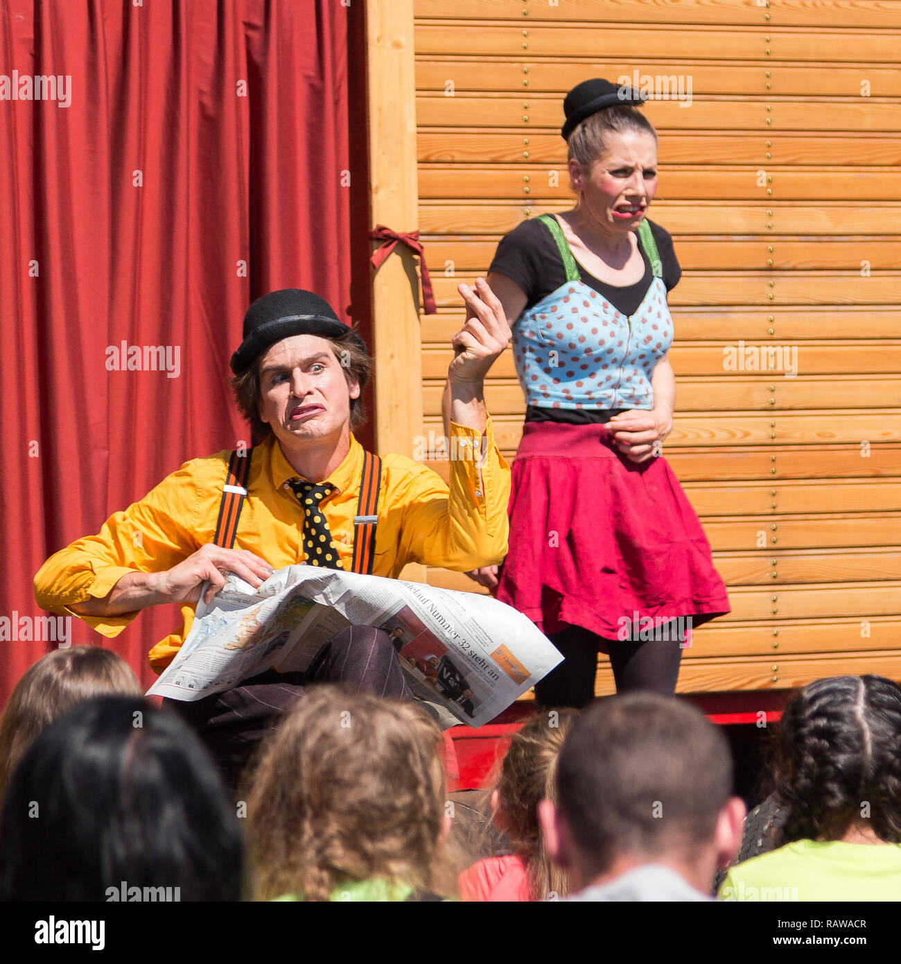 Traveling pantomime company called `Tarkabarka` show at a school in Sopron, Hungary on May 27th 2017. Expressions: offensive and apprehensive - Stock Image