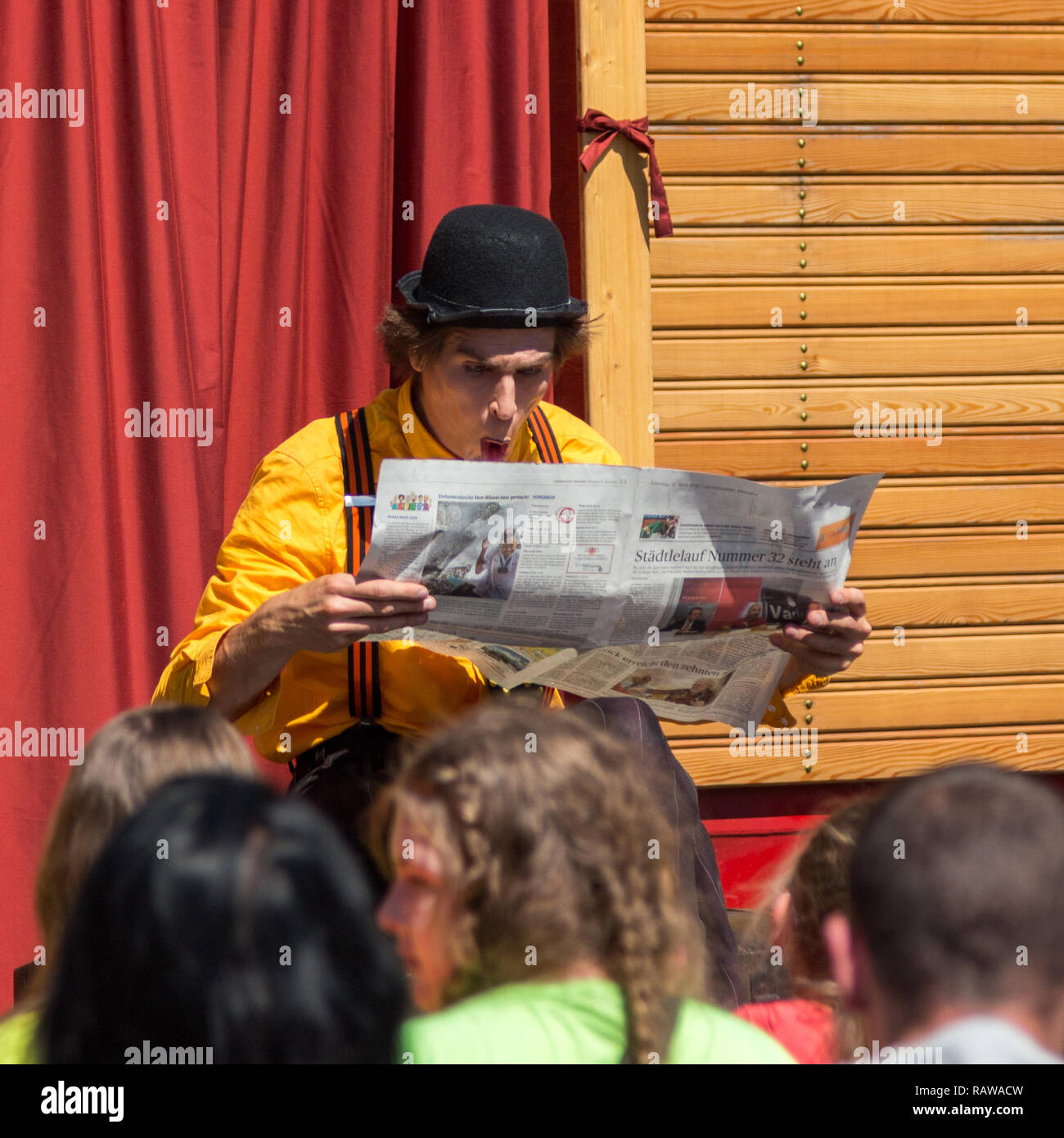 Traveling pantomime company called `Tarkabarka` show at a school in Sopron, Hungary on May 27th 2017. Expression: astonished - Stock Image