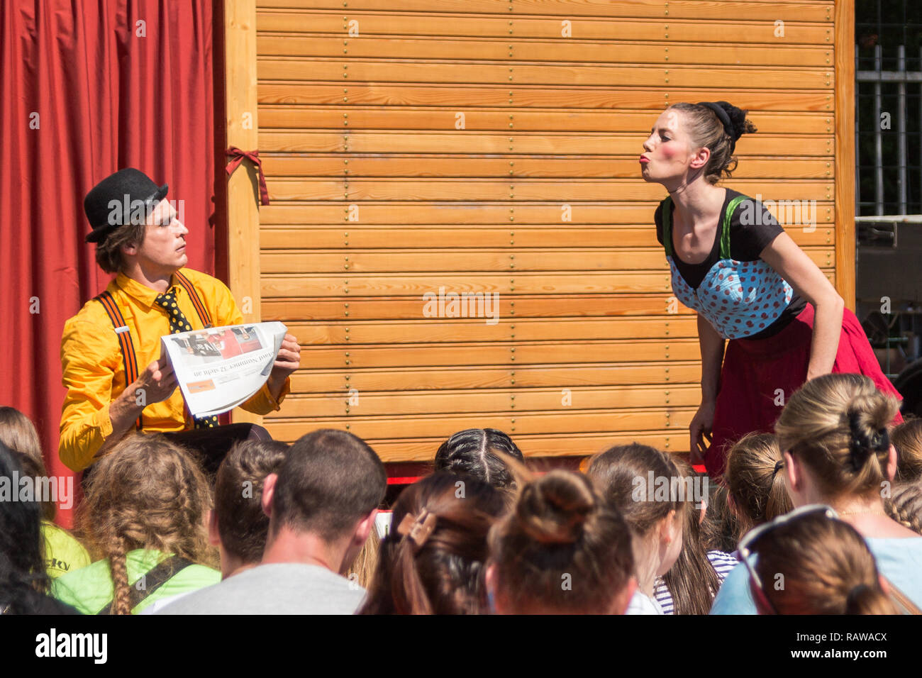 Traveling pantomime company called `Tarkabarka` show at a school in Sopron, Hungary on May 27th 2017. Expressions: puzzled and amatory - Stock Image