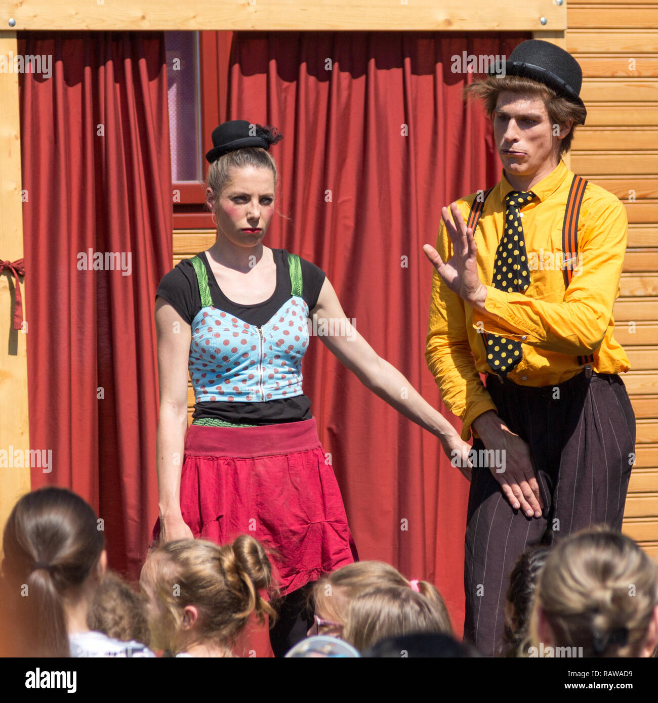 Traveling pantomime company called `Tarkabarka` show at a school in Sopron, Hungary on May 27th 2017. Expressions: deadpan and shy - Stock Image