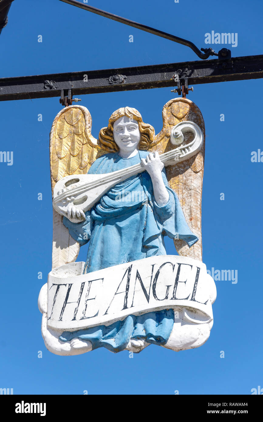 15th century The Angel Hotel sign, Market Square, Lavenham, Suffolk, England, United Kingdo Stock Photo