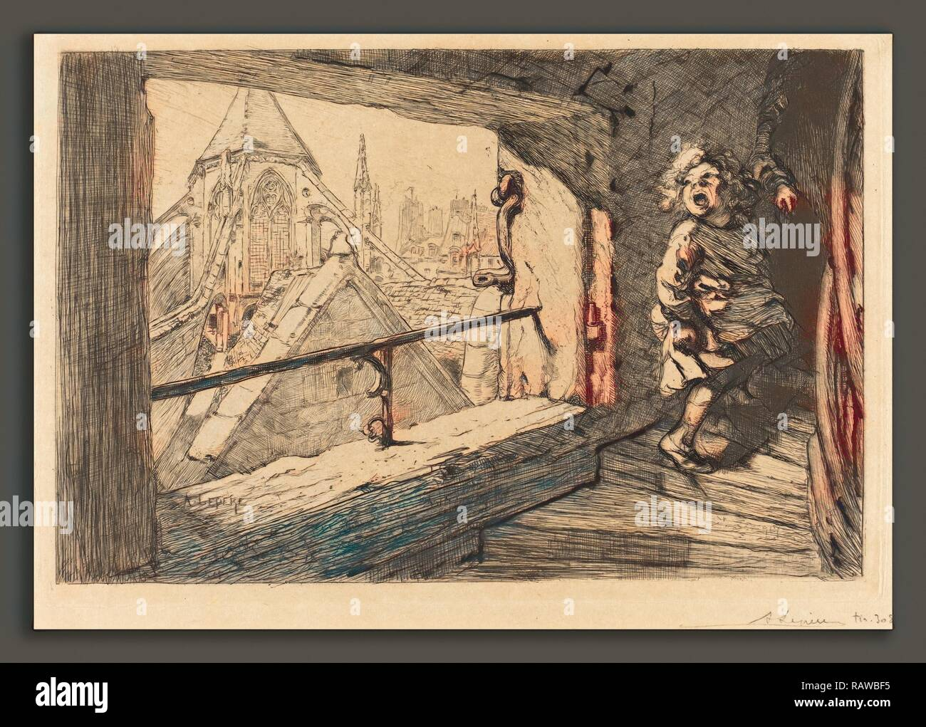 Auguste Lepère (French, 1849 - 1918), Les toits de Saint-Severin, 1889, etching. Reimagined by Gibon. Classic art reimagined Stock Photo