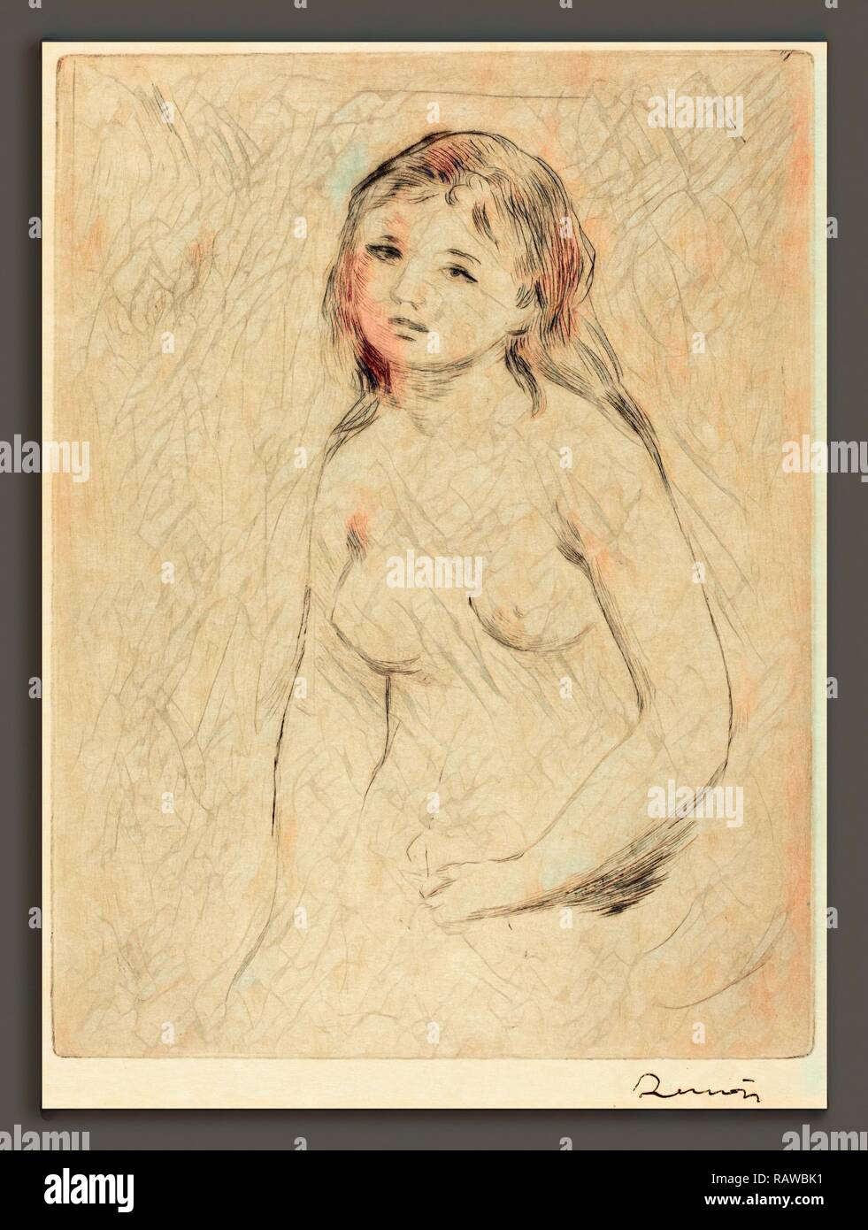 Auguste Renoir, Study for a Bather (Etude pour une baigneuse), French, 1841 - 1919, drypoint. Reimagined - Stock Image
