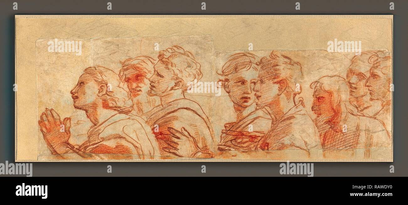 Raphael (Italian, 1483 - 1520), Eight Apostles, c. 1514, red chalk over stylus underdrawing and traces of leadpoint reimagined - Stock Image